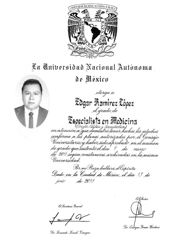 Queretaro plastic surgeon doctor certificate