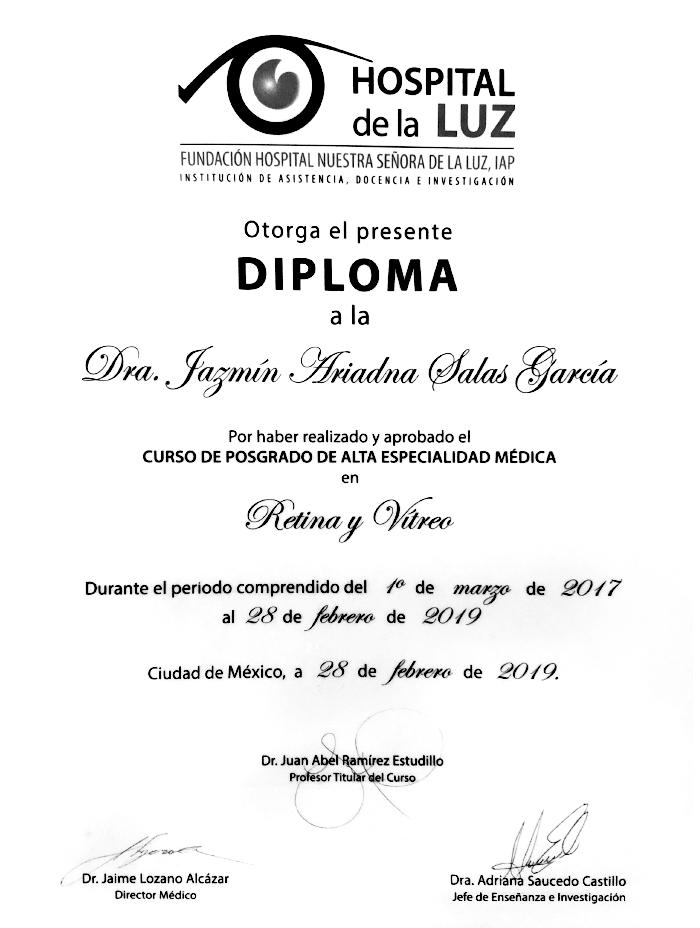 Queretaro ophthalmologic doctor certificate