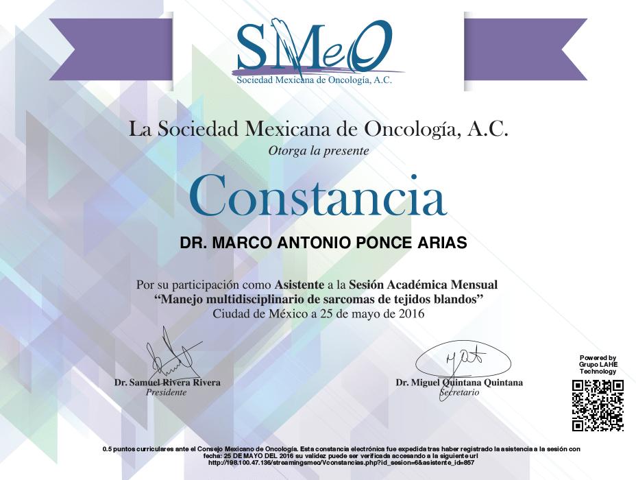 Queretaro Oncologist doctor certificate