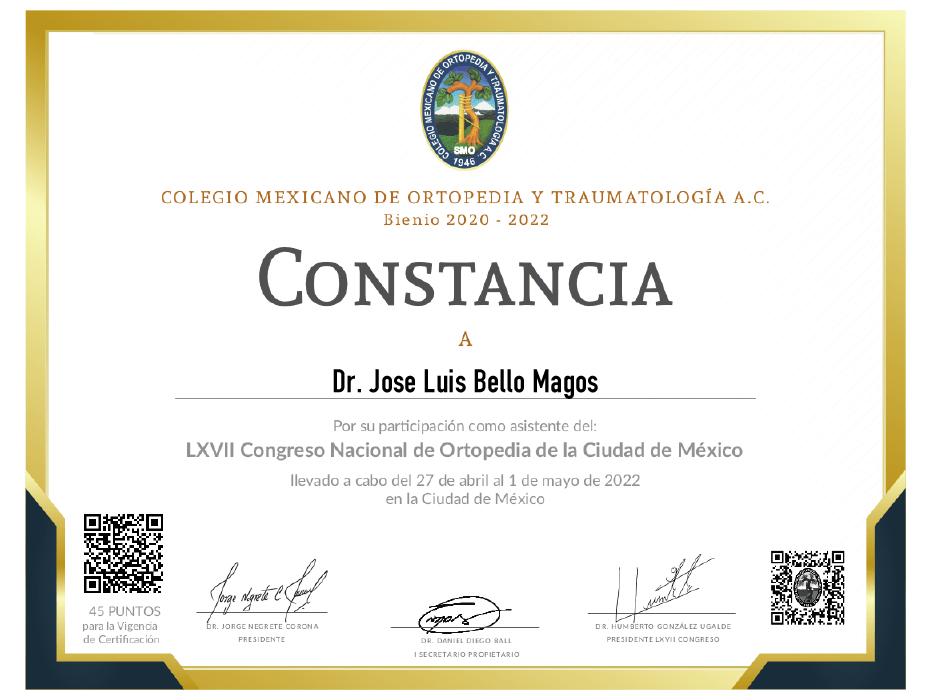 Queretaro orthopedist doctor certificate