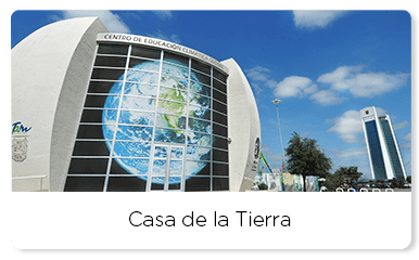 Sphere shape building with an image of the earth