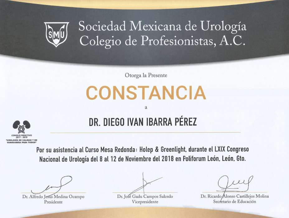 Los Cabos Urologist doctor certificate