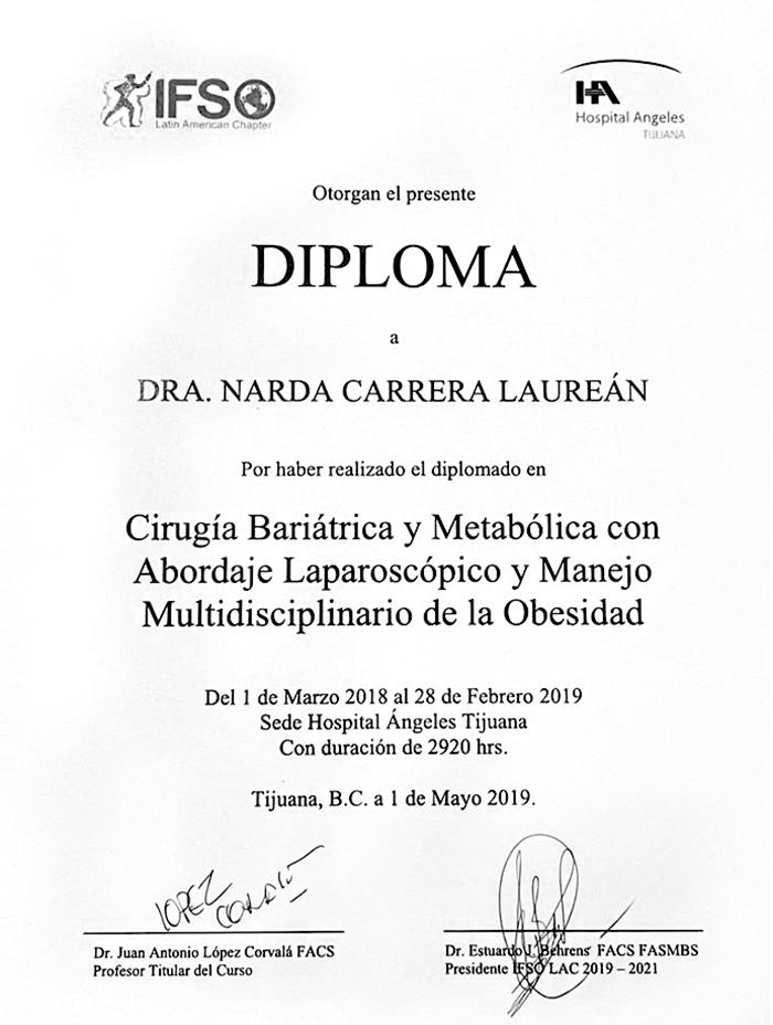 Tijuana bariatric doctor certificate