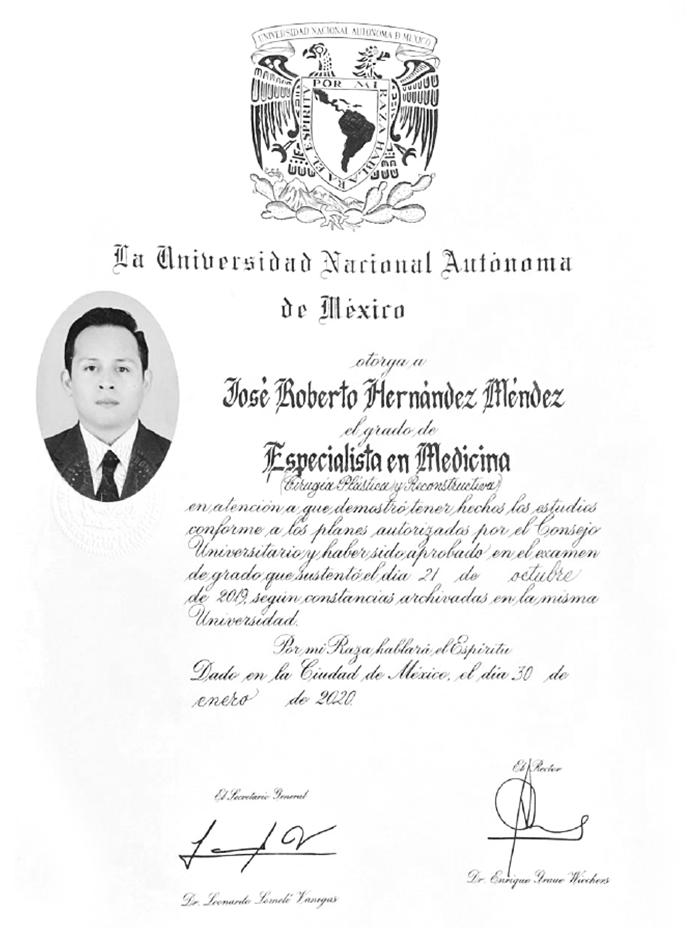 Tijuana plastic surgeon doctor certificate