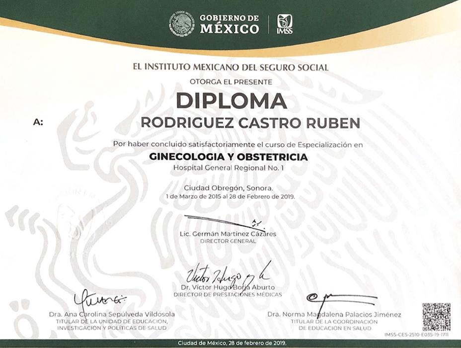 Tijuana Gynecologist doctor certificate