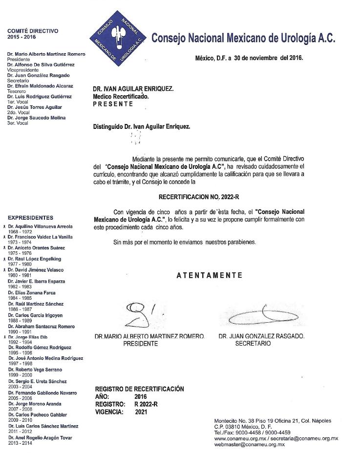 Tijuana Urologist doctor certificate