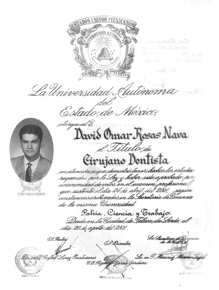toluca dentist certificate