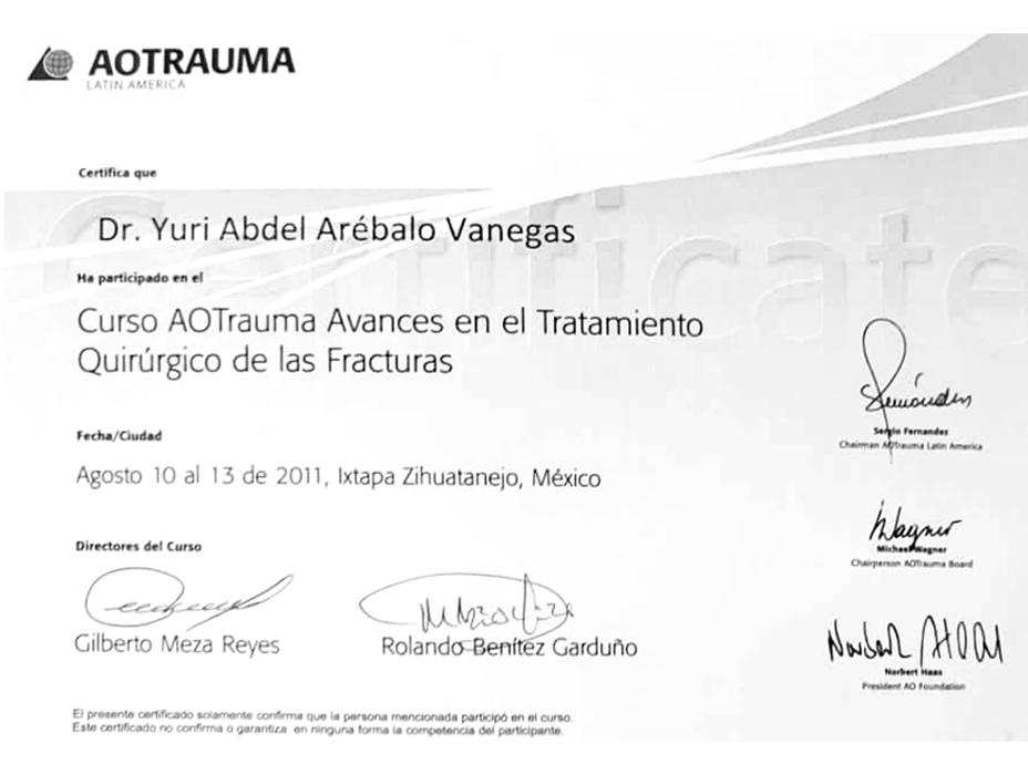 Toluca orthopedist doctor certificate