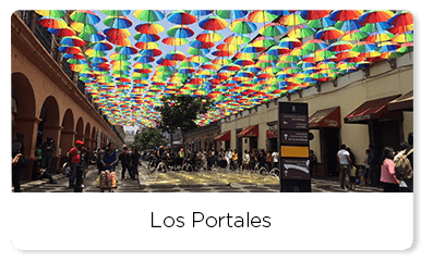 View of the colorful umbrellas of Portales