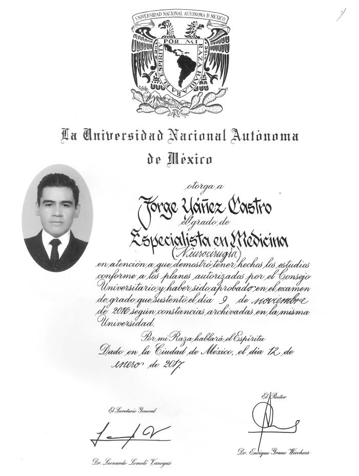 Vallarta Neurosurgeon certificate