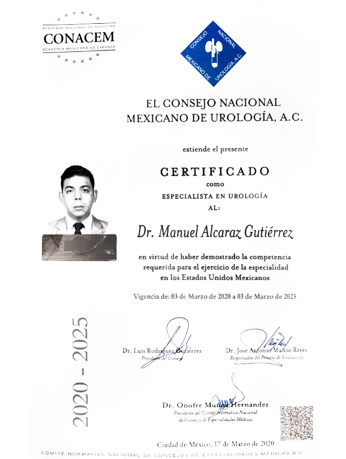 Vallarta Urologist doctor certificate
